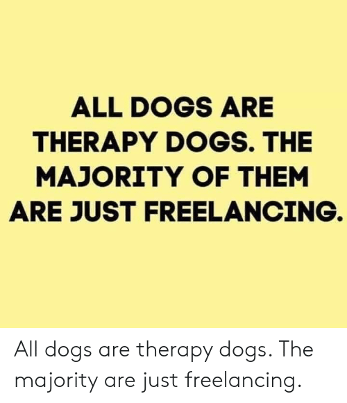 Majority: ALL DOGS ARE  THERAPY DOGS. THE  MAJORITY OF THEM  ARE JUST FREELANCING. All dogs are therapy dogs. The majority are just freelancing.