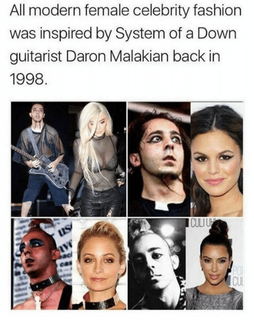 guitarist: All modern female celebrity fashion  inspired by System of a Down  guitarist Daron Malakian back in  1998  CULIU