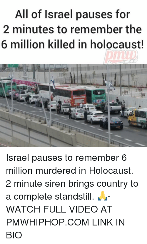 Memes, Holocaust, and Israel: All of Israel pauses for  2 minutes to remember the  6 million killed in holocaust!  HIPHOP Israel pauses to remember 6 million murdered in Holocaust. 2 minute siren brings country to a complete standstill. 🙏- WATCH FULL VIDEO AT PMWHIPHOP.COM LINK IN BIO