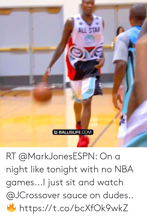 Nba Games: ALL STAR  BALLISLIFE.COM RT @MarkJonesESPN: On a night like tonight with no NBA games...I just sit and watch @JCrossover sauce on dudes..🔥  https://t.co/bcXfOk9wkZ
