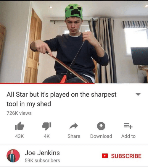 All Star: All Star but it's played on the sharpest  tool in my shed  726K views  Share Download Add to  43K  4K  Joe Jenkins  59K subscribers  SUBSCRIBE