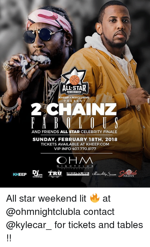 all star weekend: ALL STAR  KHEEP +NIXCLUSIVE  PRESENT  AND FRIENDS ALL STAR CELEBRITY FINALE  SUNDAY, FEBRUARY 18TH, 2018  TICKETS AVAILABLE AT KHEEP.COM  VIP INFO 407.770.8177  OHM  N IG H T C L UB  oon NIGHTS All star weekend lit 🔥 at @ohmnightclubla contact @kylecar_ for tickets and tables !!