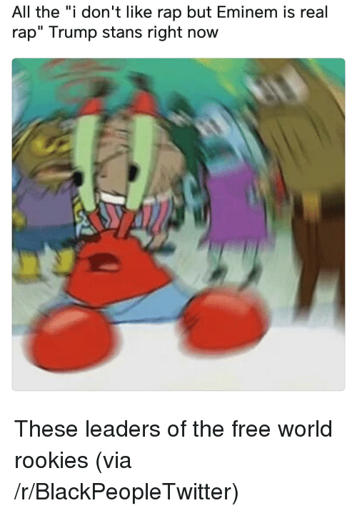 """Stans: All the """"i don't like rap but Eminem is real  rap"""" Trump stans right now <p>These leaders of the free world rookies (via /r/BlackPeopleTwitter)</p>"""