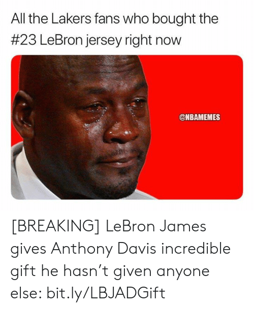 LeBron James: All the Lakers fans who bought the  #23 LeBron jersey right now  @NBAMEMES [BREAKING] LeBron James gives Anthony Davis incredible gift he hasn't given anyone else: bit.ly/LBJADGift