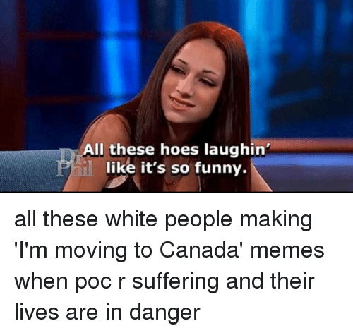 Canada Memes: All these hoes laughin'  like it's so funny. all these white people making 'I'm moving to Canada' memes when poc r suffering and their lives are in danger