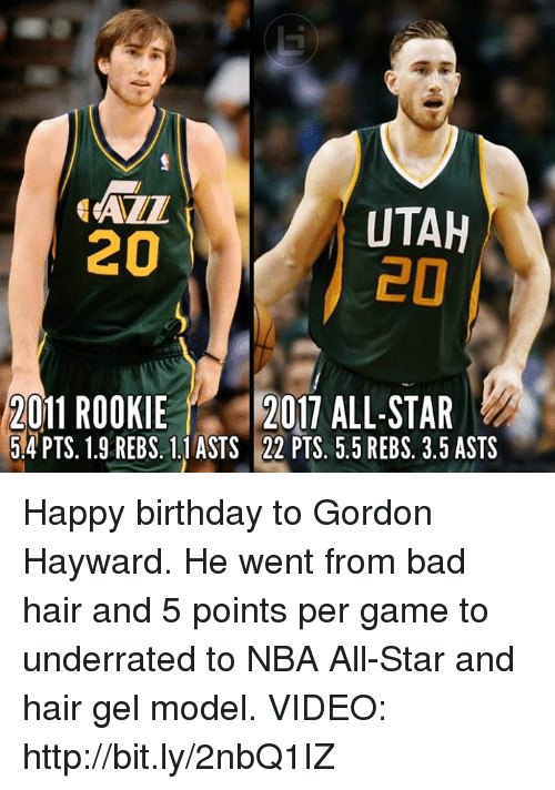 nba all stars: ALL  UTAH  20  2011 ROOKIE  2017 ALL-STAR  5.4 PTS. 1.9 REBS. 1.1 ASTS 22 PTS. 5.5 REBS. 3.5 ASTS Happy birthday to  Gordon Hayward. He went from bad hair and 5 points per game to underrated to NBA All-Star and hair gel model.   VIDEO: http://bit.ly/2nbQ1IZ