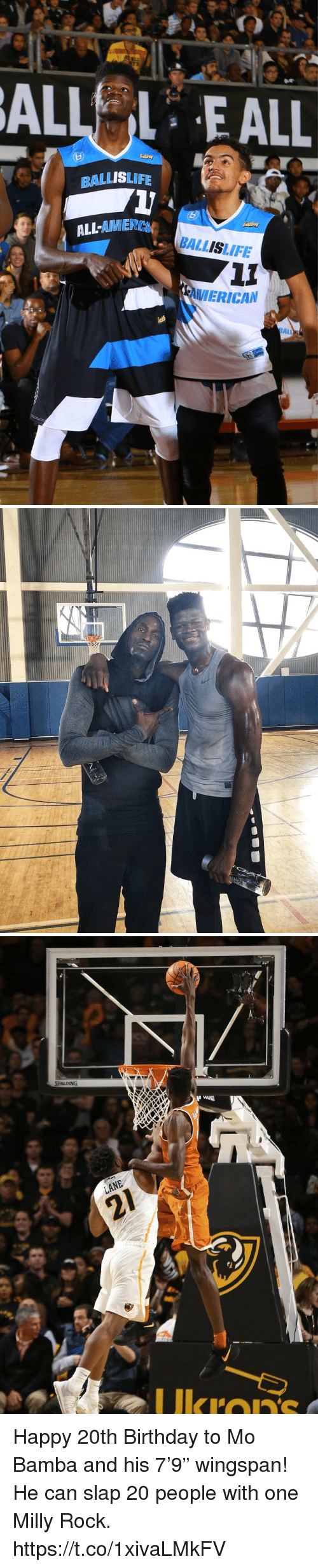 """Birthday, Memes, and Milly Rock: ALLEALL  BALLISLIFE  LL-AMIER  BALLISLIFE  VIERICAN  ALL   Ukron Happy 20th Birthday to Mo Bamba and his 7'9"""" wingspan!  He can slap 20 people with one Milly Rock. https://t.co/1xivaLMkFV"""