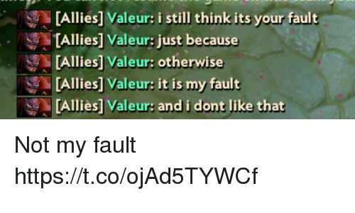 Think, Still, and Like: Allies] Valeur: i still think its your fault  [Allies] Valeur: just because  TAllies] Valeur: otherwise  [Allies] Valeur: it is my fault  [Allies] Valeur: and i dont like that Not my fault https://t.co/ojAd5TYWCf