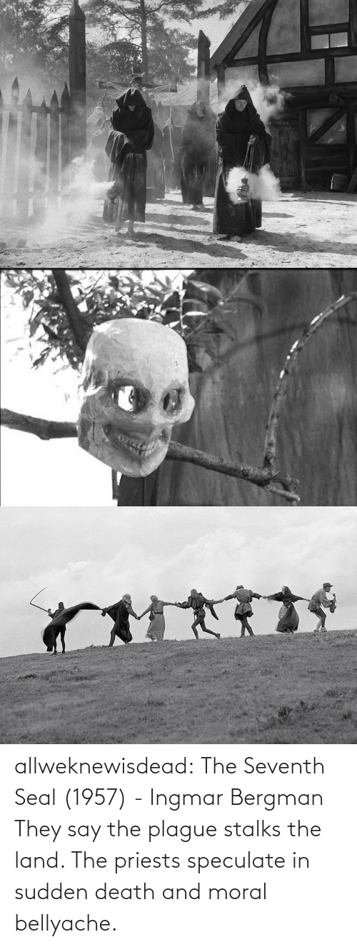 moral: allweknewisdead:   The Seventh Seal (1957) - Ingmar Bergman   They say the plague stalks the land. The priests speculate in sudden death and moral bellyache.