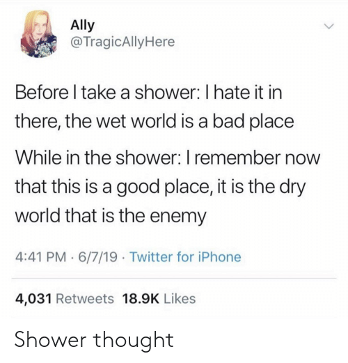 the enemy: Ally  @TragicAlly Here  Before I take a shower: I hate it in  there, the wet world is a bad place  While in the shower: I remember now  that this is a good place, it is the dry  world that is the enemy  4:41 PM 6/7/19 Twitter for iPhone  4,031 Retweets 18.9K Likes Shower thought