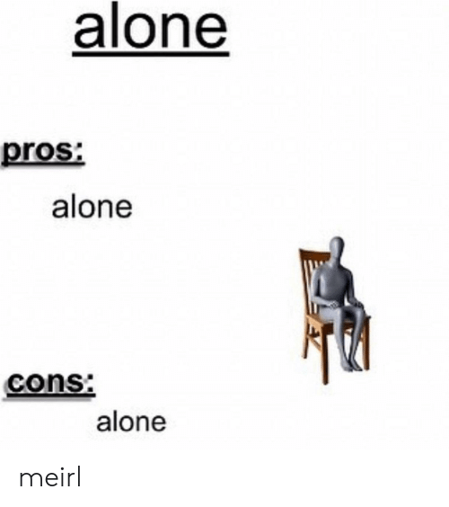 Being Alone, MeIRL, and Cons: alone  pros:  alone  cons:  alone meirl