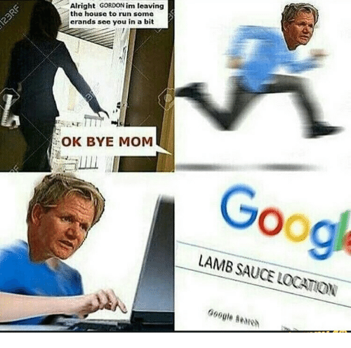 Lamb Sauce: Alright GORDON im leaving  the house to run some  erands see you in a bit  OK BYE MOM  Goog  LAMB SAUCE LOCATION  LOCATION  Google smio