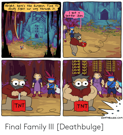 Family, Time, and Fight: Alright, here's the dungeon. Time to  slowly fight ovr way throvgh i+  go+ a  6e++er idea  Level up  Level up! e  Up! Leve uP  Level up  Level up! LevdLeve) Vp  eve up  Level up  LRve up  evel Up  Level up  TNT  DEATHBULGE.COM Final Family III [Deathbulge]