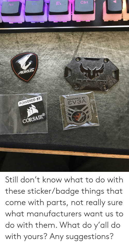 Don, Them, and Alt: Alt  Fn  Ctri  AORUS  wE.AT.MATE  POWERED BY  POWERED BY  я ЭVЗА. Би  CORSAIRD Still don't know what to do with these sticker/badge things that come with parts, not really sure what manufacturers want us to do with them. What do y'all do with yours? Any suggestions?