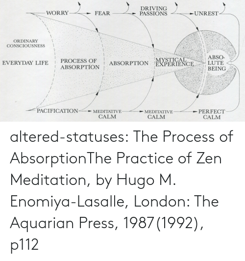 Practice: altered-statuses:  The Process of AbsorptionThe Practice of Zen Meditation, by Hugo M. Enomiya-Lasalle, London: The Aquarian Press, 1987(1992), p112