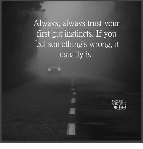 somethings wrong: Always, always trust your  first gut instincts. If you  feel something's wrong, it  usually is.  Lessons  EaRneD  ife