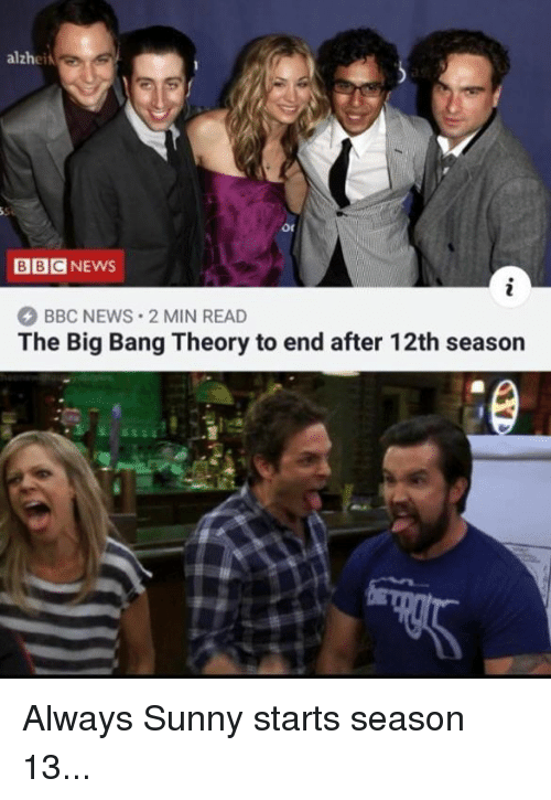 Always Sunny: alzhei  BBCNEWS  BBC NEWS 2 MIN READ  The Big Bang Theory to end after 12th season Always Sunny starts season 13...