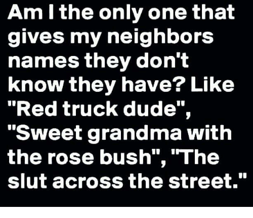 "Dude, Grandma, and Memes: Am I the only one that  gives my neighbors  names they don't  know they have? Like  ""Red truck dude"",  ""Sweet grandma with  the rose bush"", ""The  slut across the street."""