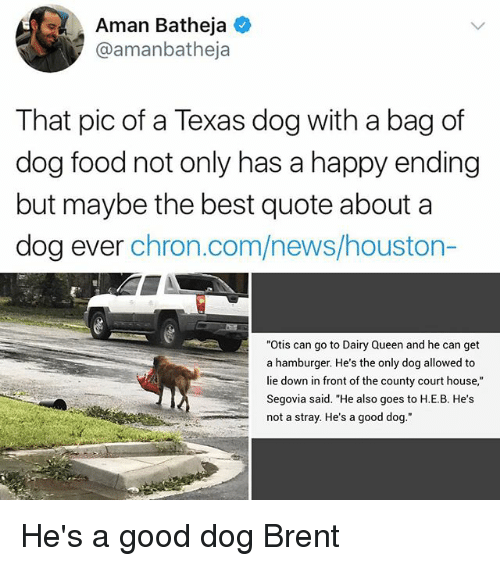 "Fronting: Aman Batheja  @amanbatheja  That pic of a Texas dog with a bag of  dog food not only has a happy ending  but maybe the best quote about a  dog ever chron.com/news/houston-  ""Otis can go to Dairy Queen and he can get  a hamburger. He's the only dog allowed to  lie down in front of the county court house,""  Segovia said. ""He also goes to H.E.B. He's  not a stray. He's a good dog."" He's a good dog Brent"