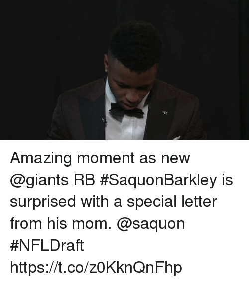 Memes, Giants, and Amazing: Amazing moment as new @giants RB #SaquonBarkley is surprised with a special letter from his mom. @saquon #NFLDraft https://t.co/z0KknQnFhp