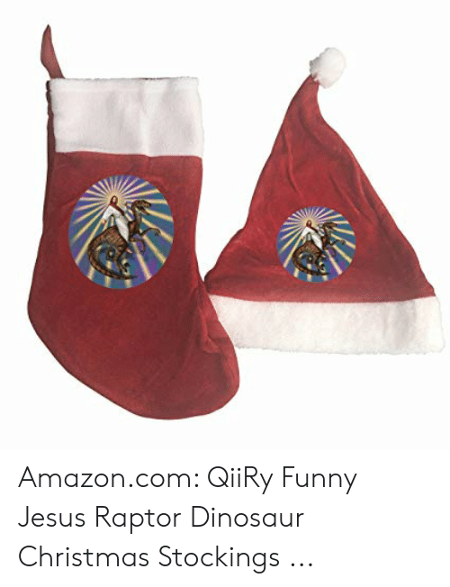 Amazon, Christmas, and Dinosaur: Amazon.com: QiiRy Funny Jesus Raptor Dinosaur Christmas Stockings ...
