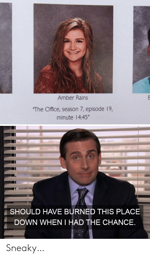 "Season 7: Amber Rains  The Office, season 7, episode 19,  minute 14:45""  SHOULD HAVE BURNED THIS PLACE  DOWN WHEN I HAD THE CHANCE Sneaky…"