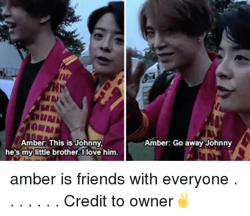 Memes, Little Brother, and 🤖: Amber: This is Johnny  he's my little brother. Iove him.  Amber: Go away Johnny amber is friends with everyone . . . . . . . Credit to owner✌