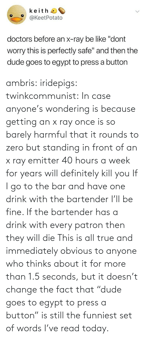 "Thinks: ambris: iridepigs:  twinkcommunist: In case anyone's wondering is because getting an x ray once is so barely harmful that it rounds to zero  but standing in front of an x ray emitter 40 hours a week for years will definitely kill you  If I go to the bar and have one drink with the bartender I'll be fine. If the bartender has a drink with every patron then they will die   This is all true and immediately obvious to anyone who thinks about it for more than 1.5 seconds, but it doesn't change the fact that ""dude goes to egypt to press a button"" is still the funniest set of words I've read today."