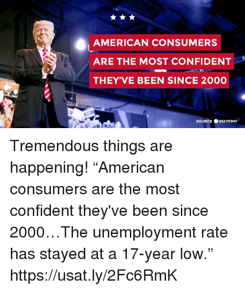 """American, Been, and Source: AMERICAN CONSUMERS  ARE THE MOST CONFIDENT  THEY'VE BEEN SINCE 2000  SOURCE ●USATODAY. Tremendous things are happening!  """"American consumers are the most confident they've been since 2000…The unemployment rate has stayed at a 17-year low."""" https://usat.ly/2Fc6RmK"""