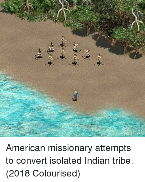 missionary: American missionary attempts to convert isolated Indian tribe. (2018 Colourised)