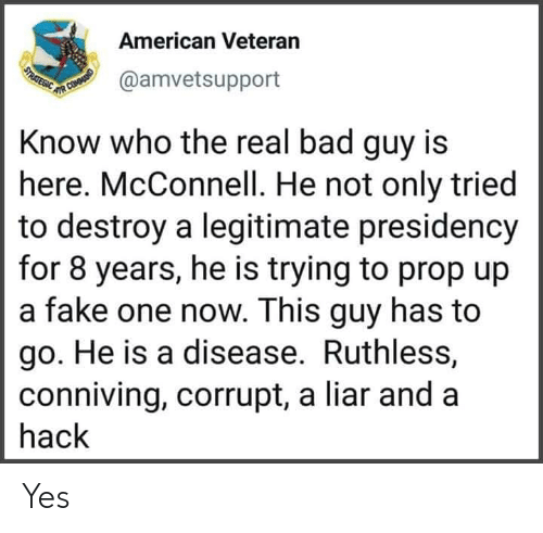 Presidency: American Veteran  USTRATEGIC  @amvetsupport  UR COMOUNID  Know who the real bad guy is  here. McConnell. He not only tried  to destroy a legitimate presidency  for 8 years, he is trying to prop up  a fake one now. This guy has to  go. He is a disease. Ruthless,  conniving, corrupt, a liar and a  hack Yes