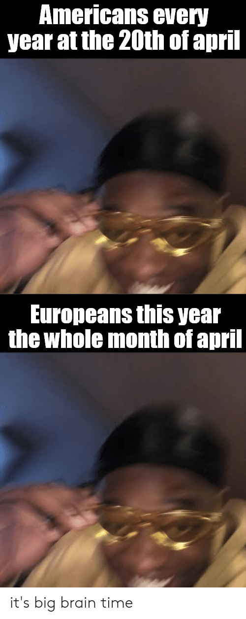 Reddit, Brain, and Time: Americans every  year at the 20th of april  Europeans this year  the whole month of april it's big brain time