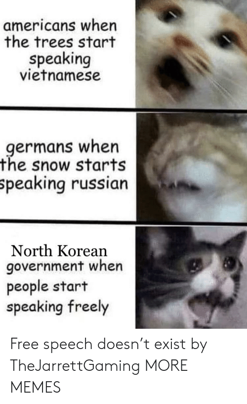 Dank, Memes, and Target: americans when  the trees start  speaking  vietnamese  germans when  the snow starts  peaking russian  North Korean  government when  people start  speaking freely Free speech doesn't exist by TheJarrettGaming MORE MEMES