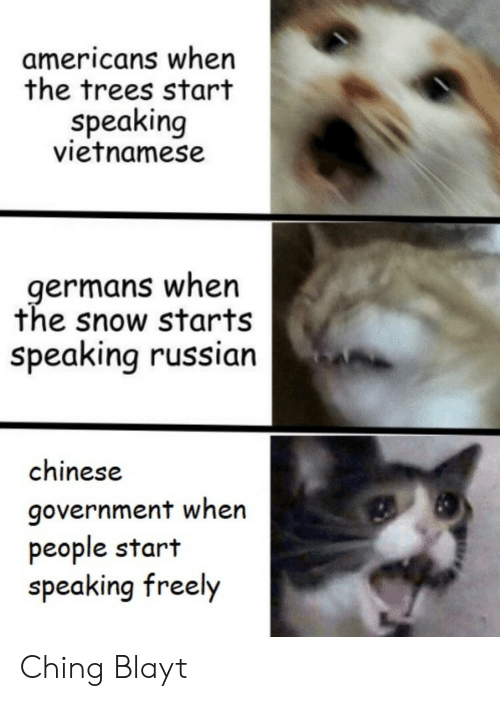 Vietnamese: americans when  the trees start  speaking  vietnamese  germans when  the snow starts  speaking russian  chinese  government when  people start  speaking freely Ching Blayt