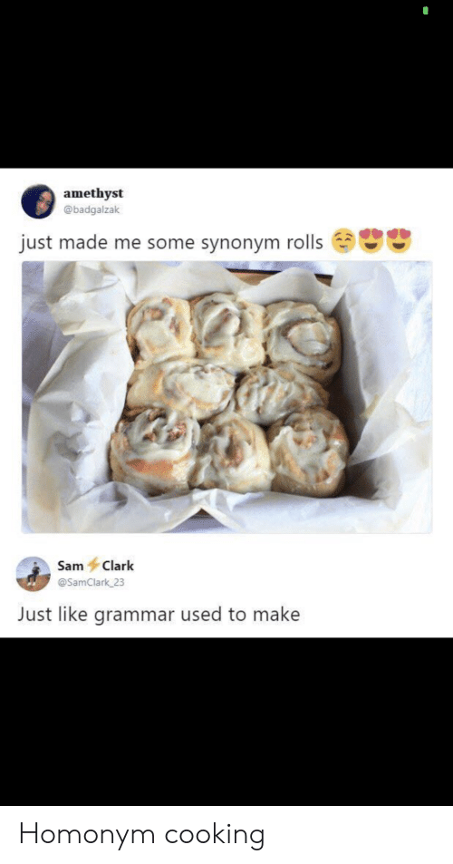 sam: amethyst  @badgalzak  just made me some synonym rolls  Sam Clark  @SamClark 23  Just like grammar used to make Homonym cooking