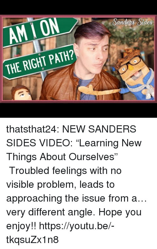 """Troubled: _AMİON  Sandos Sides  THE RIGHT PATH? thatsthat24: NEW SANDERS SIDES VIDEO: """"Learning New Things About Ourselves"""" Troubled feelings with no visible problem, leads to approaching the issue from a… very different angle. Hope you enjoy!! https://youtu.be/-tkqsuZx1n8"""