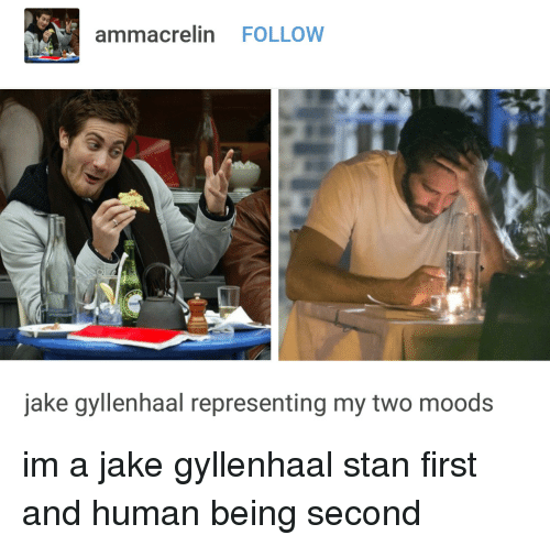 Jake Gyllenhaal: ammacrelin FOLLOW  jake gyllenhaal representing my two moods im a jake gyllenhaal stan first and human being second