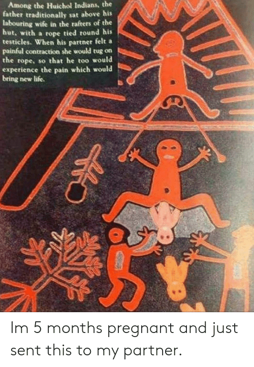 Life, Pregnant, and Wife: Among the Huichol Indians, the  father traditionally sat above his  labouring wife in the rafters of the  hut, with a rope tied round his  testicles. When his partner felt a  painful contraction she would tug on  the rope, so that he too would  experience the pain which would  bring new life. Im 5 months pregnant and just sent this to my partner.