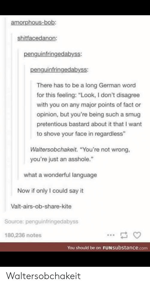 """Pretentious, Say It, and Word: amorphous-bob:  shitfacedanon:  penguinfringedabyss:  penguinfringedabyss:  There has to be a long German word  for this feeling: """"Look, I don't disagree  with you on any major points of fact or  opinion, but you're being such a smug  pretentious bastard about it that I want  to shove your face in regardless""""  Waltersobchakeit. """"You're not wrong,  you're just an asshole.""""  what a wonderful language  Now if only I could say it  Valt-airs-ob-share-kite  Source: penguinfringedabyss  180,236 notes  You should be on FUNsubstance.conm Waltersobchakeit"""