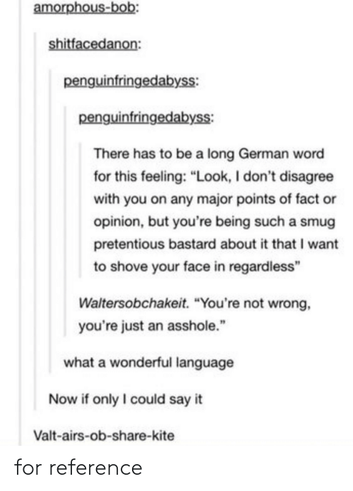 """Pretentious, Say It, and Word: amorphous  penguinfringedabyss:  penguinfringedabyss:  There has to be a long German word  for this feeling: """"Look, I don't disagree  with you on any major points of fact or  opinion, but you're being such a smug  pretentious bastard about it that I want  to shove your face in regardless""""  Waltersobchakeit. """"You're not wrong,  you're just an asshole.""""  what a wonderful language  Now if only I could say it  Valt-airs-ob-share-kite for reference"""