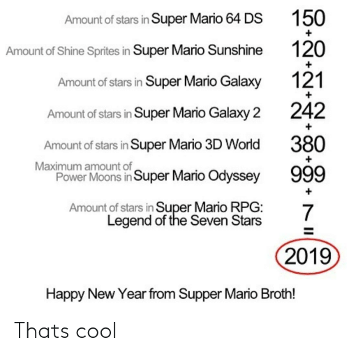 odyssey: Amount of stars in Super Mario 64 DS  Amount of Shine Sprites in Super Mario Sunshine  Amount of stars in Super Mario Galaxy  Amount of stars in Super Mario Galaxy 2  Amount of stars in Super Mario 3D World  Power Moons in Super Mario Odyssey  Amount of stars in Super Mario RPG:  150  120  121  242  380  Maximum amount of  Legend of the Seven Stars  2019  Happy New Year from Supper Mario Broth! Thats cool