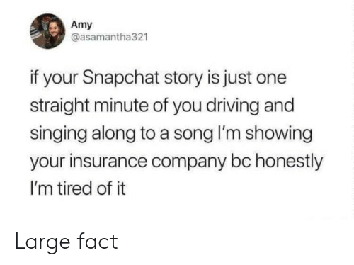 insurance company: Amy  @asamantha321  if your Snapchat story is just one  straight minute of you driving and  singing along to a song I'm showing  your insurance company bc honestly  I'm tired of it Large fact