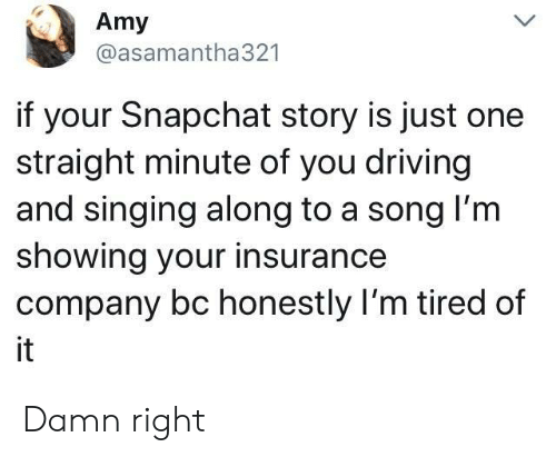 insurance company: Amy  @asamantha321  if your Snapchat story is just one  straight minute of you driving  and singing along to a song l'm  showing your insurance  company bc honestly I'm tired of  it Damn right