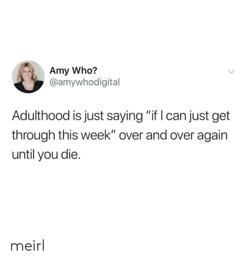"""MeIRL, Who, and Amy: Amy Who?  @amywhodigital  Adulthood is just saying """"if I can just get  through this week"""" over and over again  until you die. meirl"""