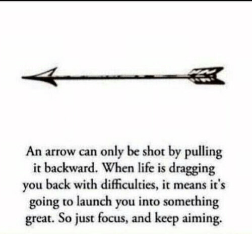 An Arrow: An arrow can only be shot by pulling  it backward. When life is dragging  you back with dificulties, it means it's  going to launch you into something  great. So just focus, and keep aiming