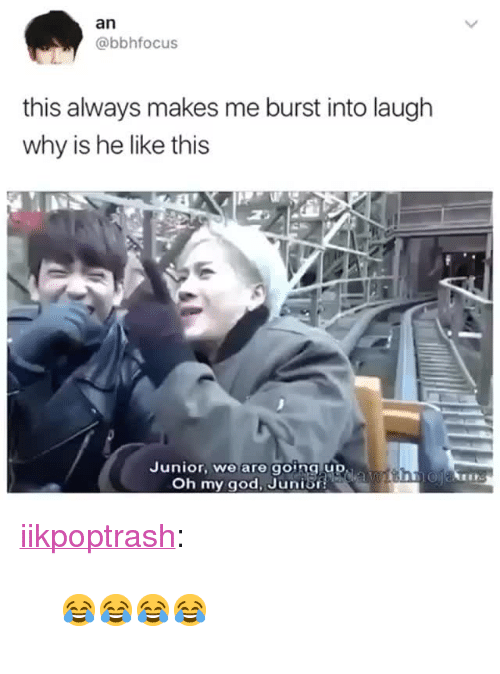 """gong: an  @bbhfocus  this always makes me burst into laugh  why is he like this  Junior, we are gong up  Oh my god, Junis <p><a href=""""http://iikpoptrash.tumblr.com/post/157979870703"""" class=""""tumblr_blog"""">iikpoptrash</a>:</p>  <blockquote><p>😂😂😂😂</p></blockquote>"""