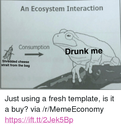 """Fresh, Cheese, and Template: An Ecosystem Interaction  ConsumptionDrunk me  Shredded cheese  strait from the bag <p>Just using a fresh template, is it a buy? via /r/MemeEconomy <a href=""""https://ift.tt/2Jek5Bp"""">https://ift.tt/2Jek5Bp</a></p>"""