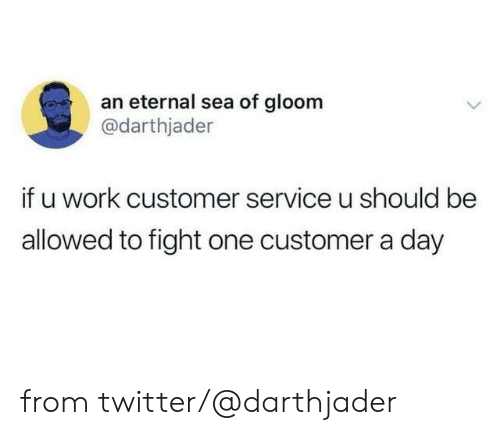 Dank, Twitter, and Work: an eternal sea of gloom  @darthjader  if u work customer service u should be  allowed to fight one customer a day from twitter/@darthjader