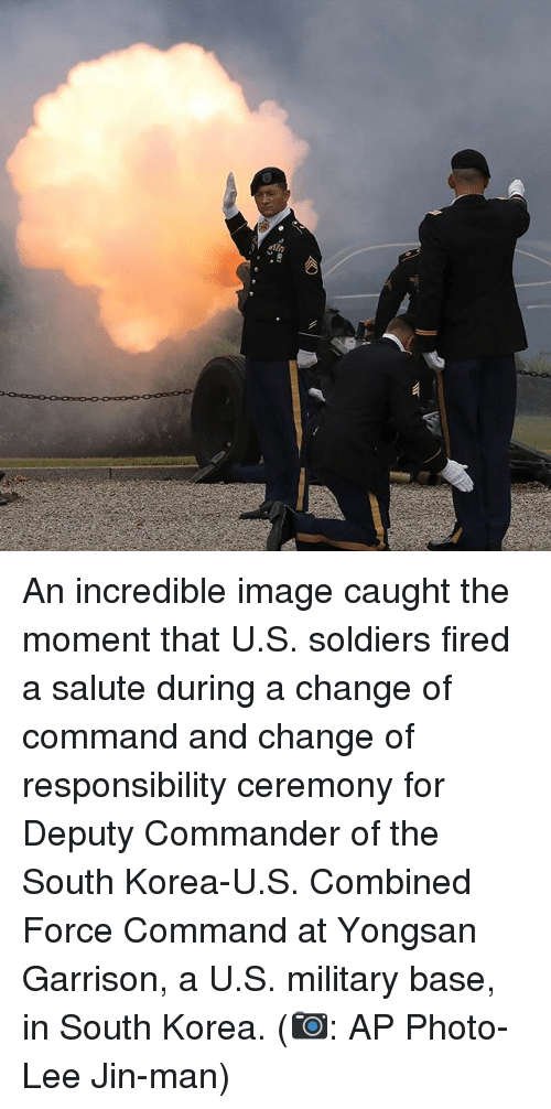 Memes, Soldiers, and Image: An incredible image caught the moment that U.S. soldiers fired a salute during a change of command and change of responsibility ceremony for Deputy Commander of the South Korea-U.S. Combined Force Command at Yongsan Garrison, a U.S. military base, in South Korea. (📷: AP Photo-Lee Jin-man)