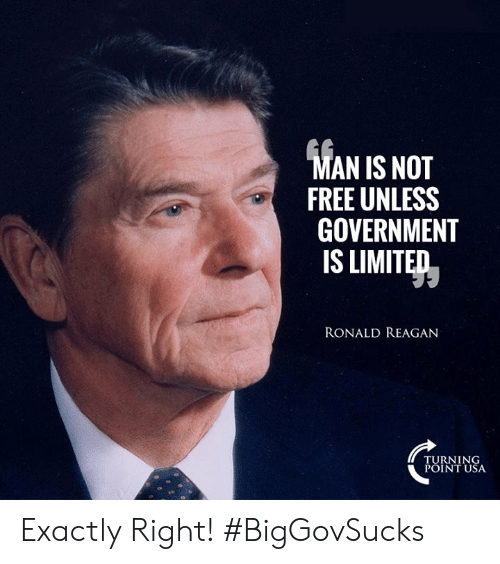 Memes, Free, and Limited: AN IS NOT  FREE UNLESS  GOVERNMENT  IS LIMITED  RONALD REAGAN  TURNING  POINT USA Exactly Right! #BigGovSucks